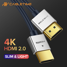CABLETIME New HDMI Cable M/M Zinc Alloy HDMI to HDMI 2k*4k 2.0 Slim HDMI Cable for TV Laptop Projector PS3 PS4 Cable C124 high speed hdmi cable hdmi m to hdmi m 5m