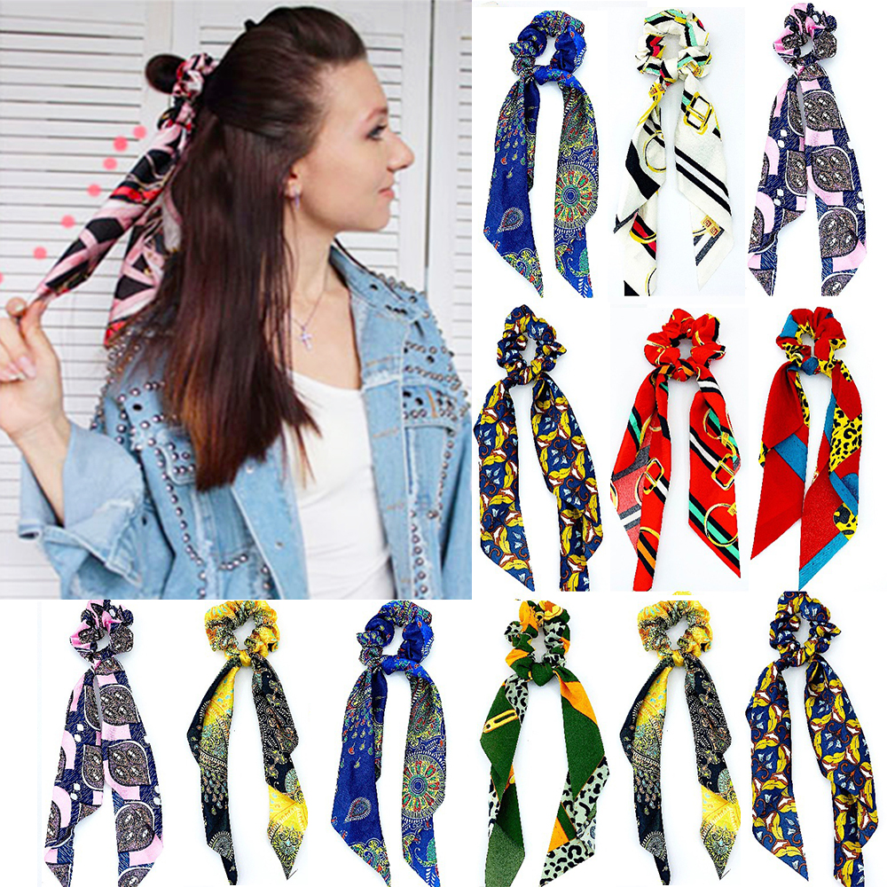 DIY Floral Print Bow Satin Long Ribbon Ponytail Scarf Hair Tie Scrunchies Women Girls Elastic Hair Bands Hair Accessories