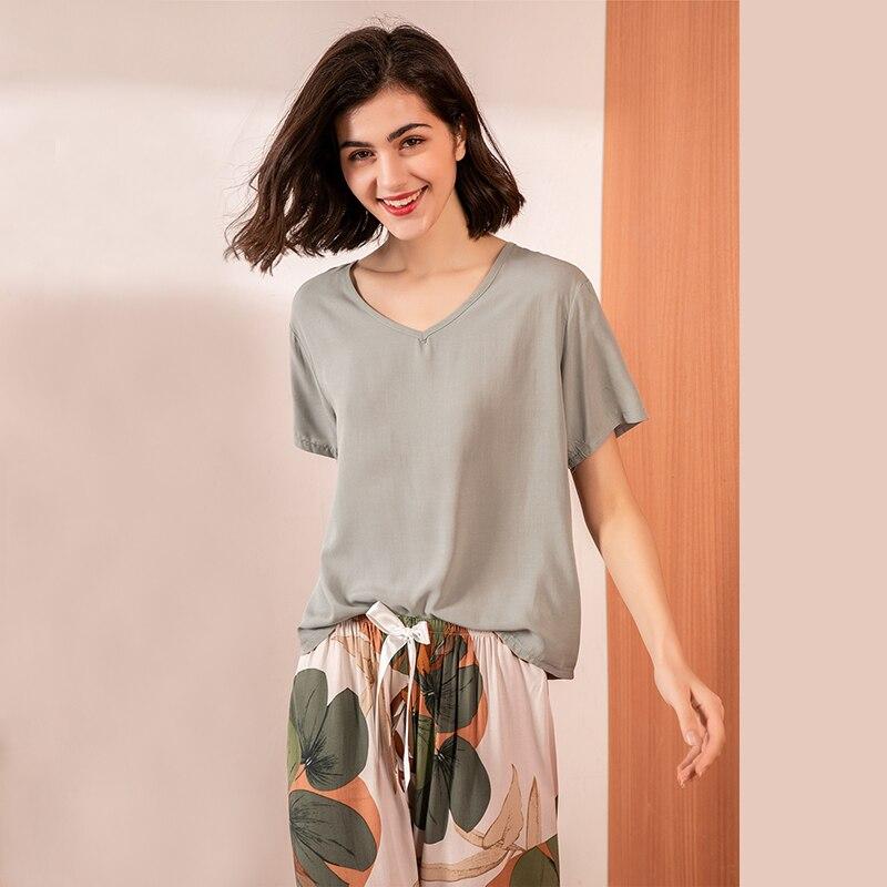 JULY'S SONG Floral Printed Pyjama Sleepwear Female Casual V Neck Short Sleeve Elastic Waist Nightwear Retro Women's Pajamas Sets