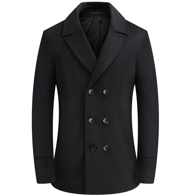 Fashion Winter Woolen Coat Male Double Breasted Overcoat Wool Men Coat Black Long Sleeve Thick Warm Blend Coat Boy Plus Size 4xl
