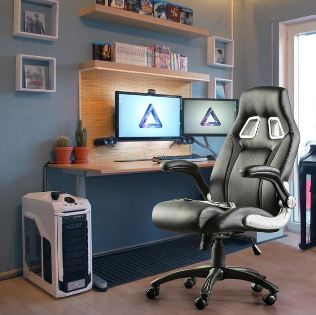 Furgle PU leather Office Chair 360° Swivel Gaming Chair with Comfortable Foam-padded Armrest Waterproof for Office Furniture 3
