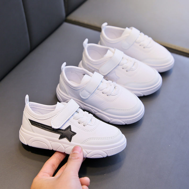 Children Sneakers Flat with Boys Girls School Shoes White Star Pattern Anti-slippery Kids Footwear Size 26-37 Kids Shoes D02132