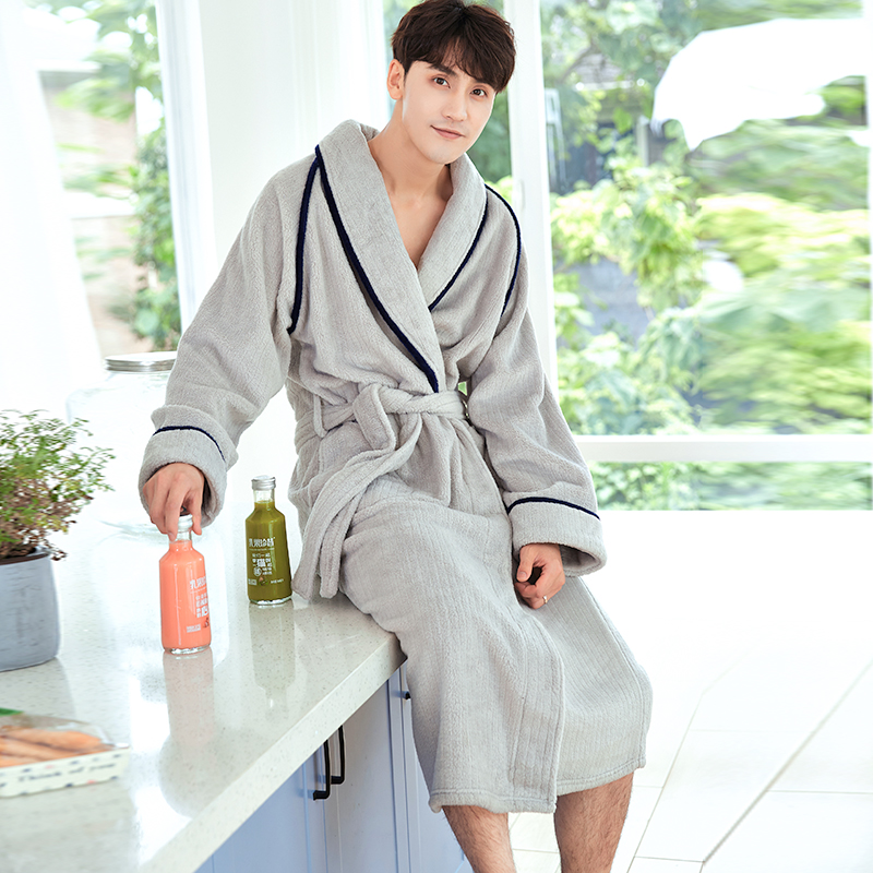 New Korean Simple Gray Winter Men Bathrobe Plus Size Thick Warm Robe Male Flannel Long Home Dressing Gown Szlafrok XXXL