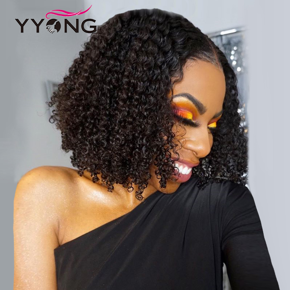 YYong 4x4 Lace Closure Bob Wig Kinky Curly 13x4 Lace Front  Wigs Jerry Curl Short Bob Wig Natural Hairline 150% 1