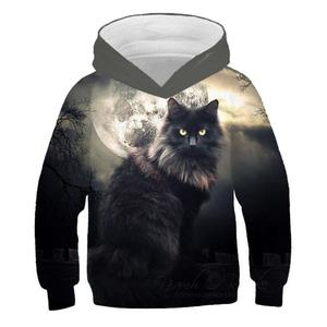 Image 1 - 3D Kitty Print Hoodie Pullover Style Cat Print Tide Sweater Kids Sweatshirt Fashion Boys and Girls Casual Hoodie
