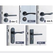 Black Solid Space Aluminum Door Locks Continental Bedroom Minimalist Interior Door Handle Lock Cylinder Security Locks Set
