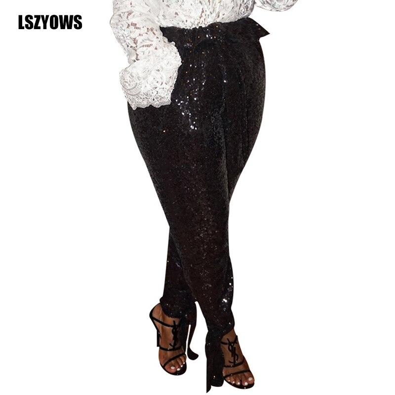 2019 Autumn Fashion Black Sequin Pants Women High Waist Bottom Bandage Trousers Female Club Party Casual Pencil Pants Streetwear