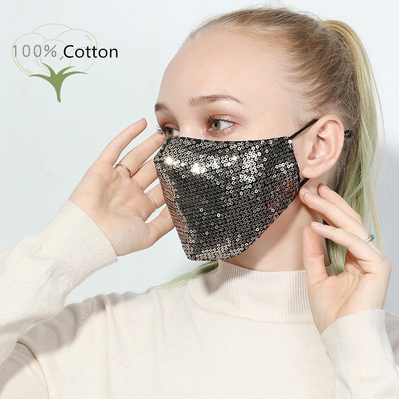 Fashion Sequin Mask Cotton Keep Warm Anti-haze Masks Shining Party Unisex Breathable Mouth Respirator Washable Face Cover Masks