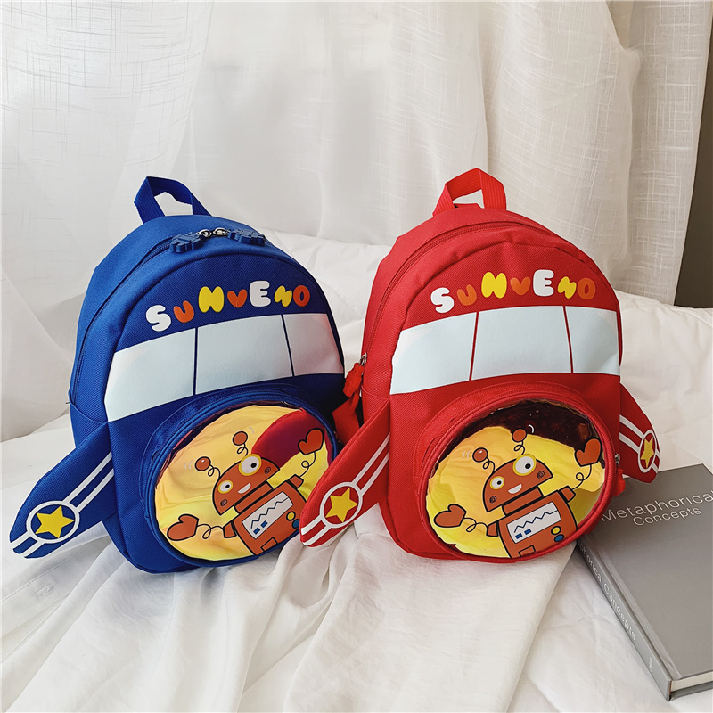 1-2-3-Year-Old Infants Children Anti-Lost Bag Baby Nursery Small Aircraft School Bag Cartoon Backpack Anti Go Packet Loss