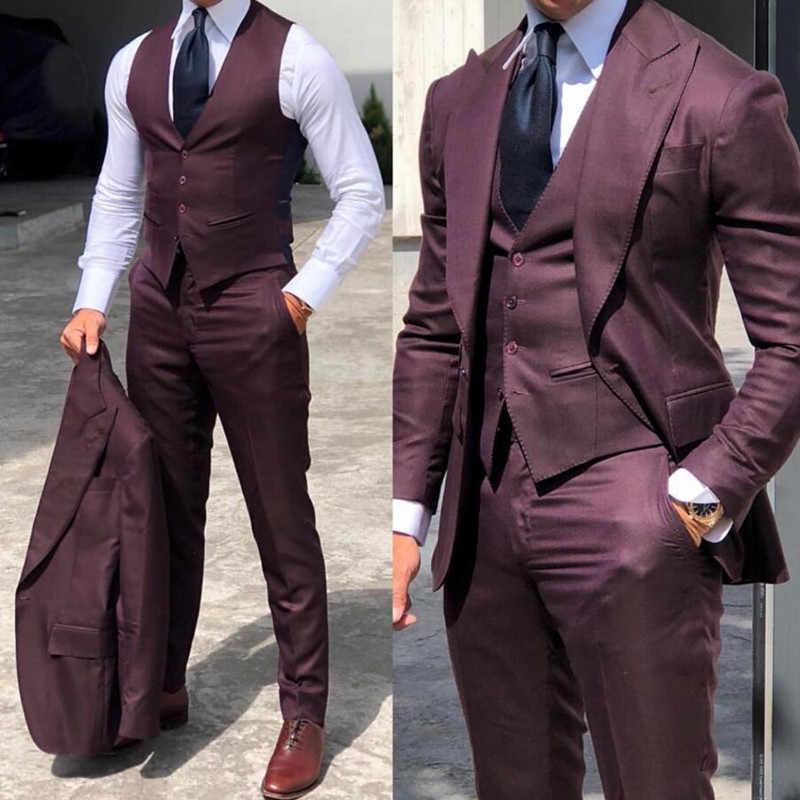 Eleganckie smokingi ślubne garnitury Slim Fit oblubieniec dla mężczyzn 3 kawałki smoking dla pana młodego formalne stroje biznesowe Party (kurtka + kamizelka + spodnie