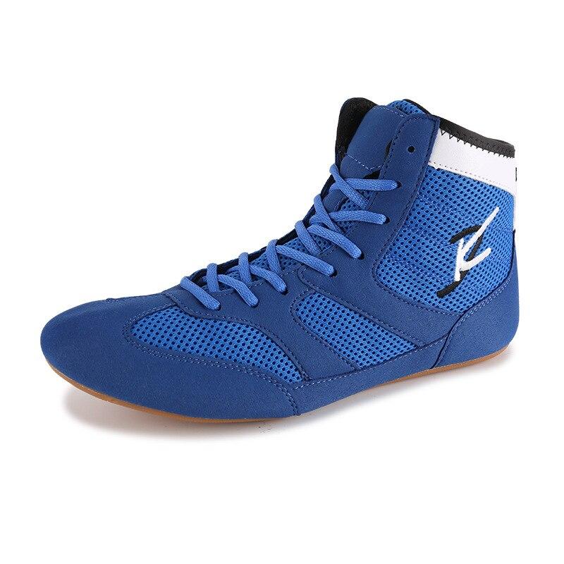 Мужская обувь для борьбы размера плюс 36-45, боксерская обувь для боевого искусства, резиновая подошва, дышащая, профессиональная экипировка для борьбы для женщин D0881 - Цвет: Синий