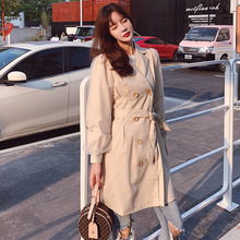 Autumn 2019 New Mid-long Fashion Slim Coat Korean Edition Windshirt Women Wear 5 Adjustable Waist Turn-down Long