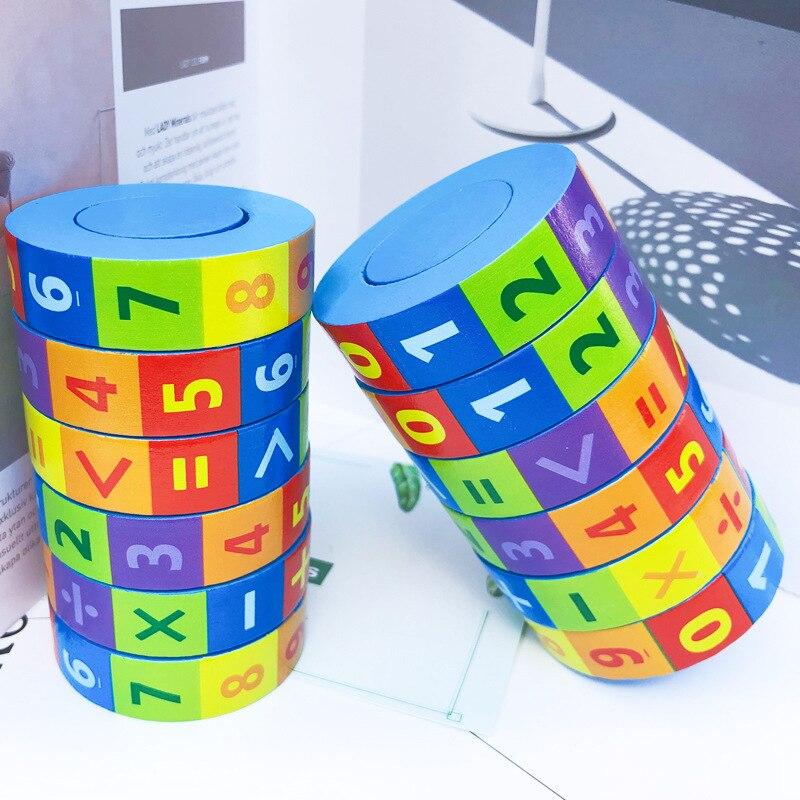 Aides pédagogiques rotatives cylindriques en bois de maternelle avec des chiffres Intelligence rubik's Cube enfants éducation précoce Educ de mathématiques