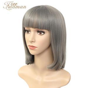 Парики FREEWOMAN синтетические для женщин, короткий парик с челкой, искусственные волосы, розовый, фиолетовый, черный парик, термостойкий, Хэлло...