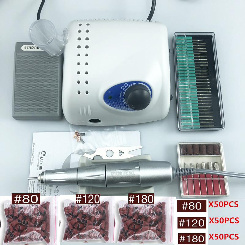 2019 New Arrival 65W 40000rpm STRONG 210 105L Handpiece 2.35mm Nail Drills Manicure Machine Pedicure Electric File Bits