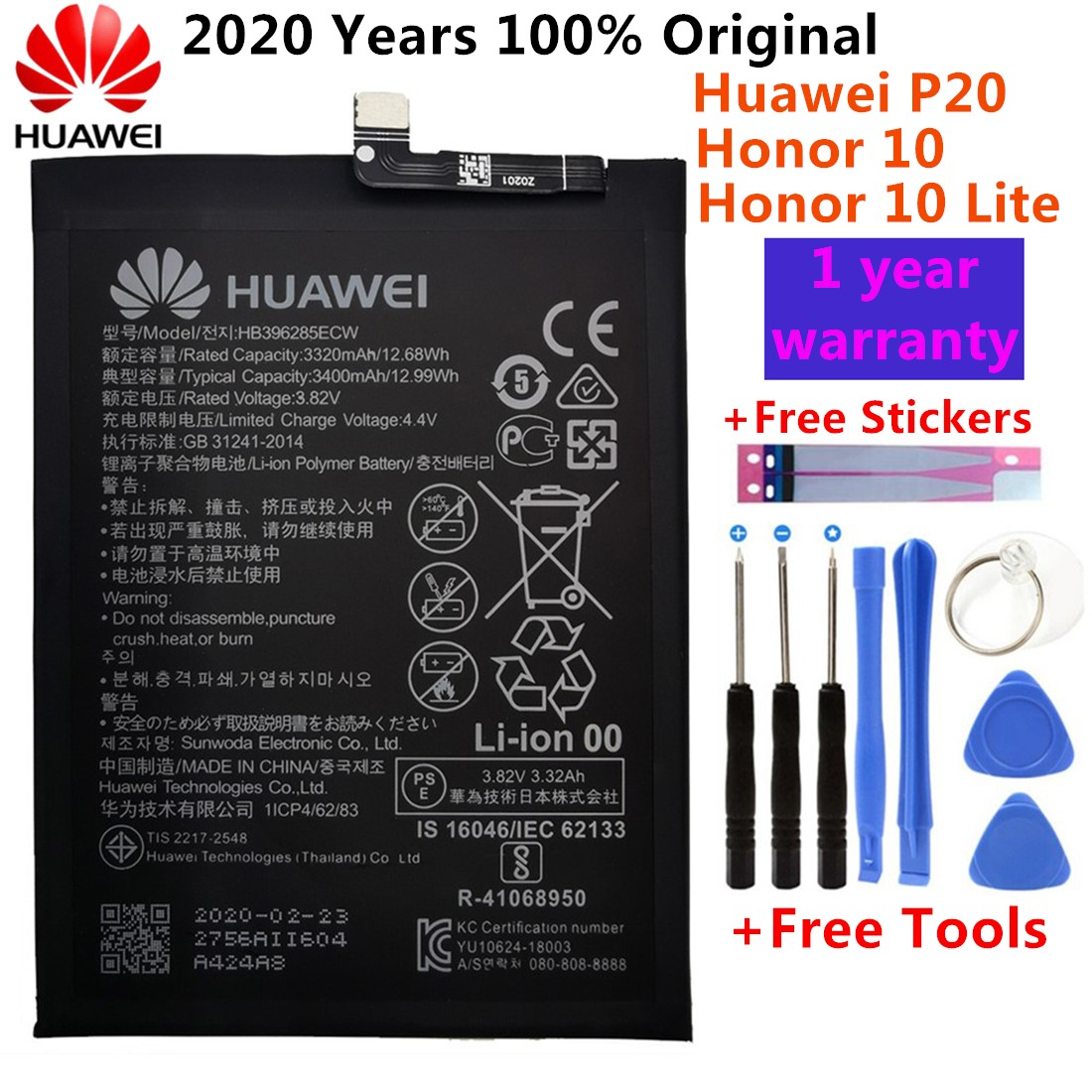 100% Original Replacement Phone Battery HB396286ECW For Huawei Honor 10 Lite Honor10 Lite Pour P Smart 2019 Battery 3400mAh