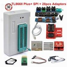 Mais novo 100% original tl866ii plus universal minipro programador com 28 adaptadores + spi clipe de teste pic bios alta velocidade programador