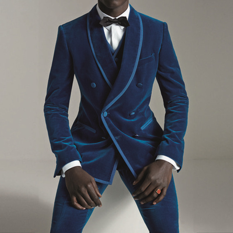 2020 Latest Coat Pant Designs Purple Velvet Men Suit Slim Fit 2 Piece Smoking Jacket Tuxedo Custom Groom Blazer Prom Suits Terno