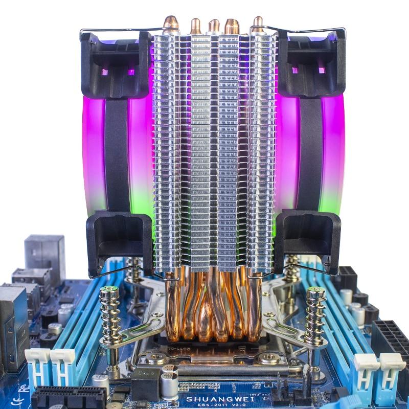 QITU 6 Heat Pipes CPU Cooler 3 Pin 4 Pin PWM 92mm PC quiet Fan  for Intel LGA 2011 2066 E3 E5 X79 X99 X299 9CM CPU Cooling Fan 4