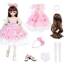Ucanaan rosa princesa vestido para 1/3 bjd sd bonecas completa roupas conjunto peruca sapatos acessórios para 60cm boneca