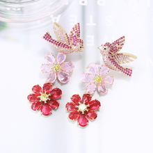 VERY GIRL Elegant Swallow Bird Earrings for Women Cubic Zircon Flower Drop Unique Trendy Wedding Jewelry