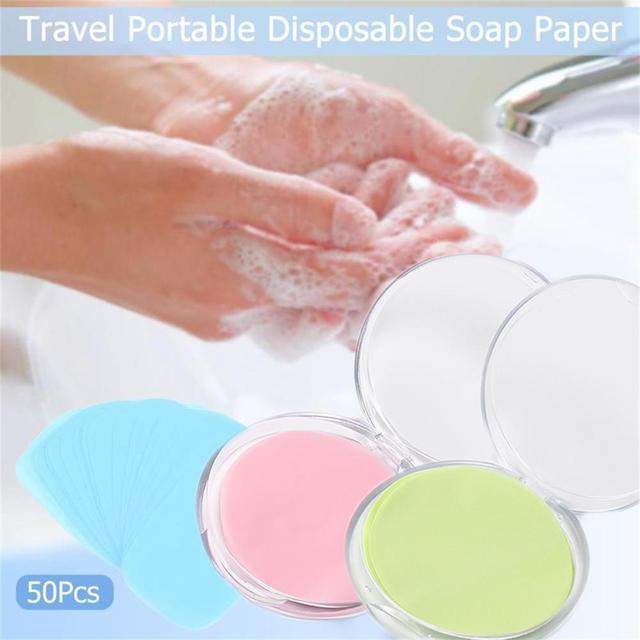 50 Pcs/box Portable Outdoor Travel Soap Paper Washing Hand Bath Clean Scented Slice Sheets Disposable Boxes Soap Mini Paper Soap 1