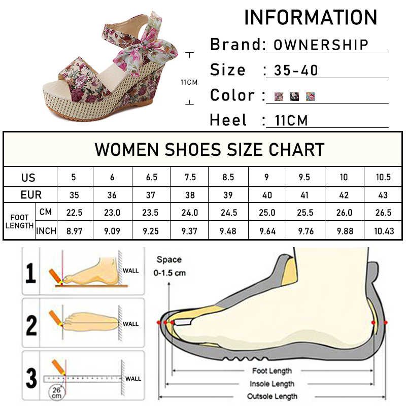 Kadın Bohemia sandalet kadın çiçek takozlar kadın platformu ayakkabı kadın dantel Up bayanlar Peep Toe moda yüksek topuklu ayakkabı 2020