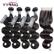 Yyong 3/ 4 Body Wave Bundles With Closure Brazilian Hair Weave Bundles With Lace Closure 4x4 Remy Human Hair Bundle With Closure