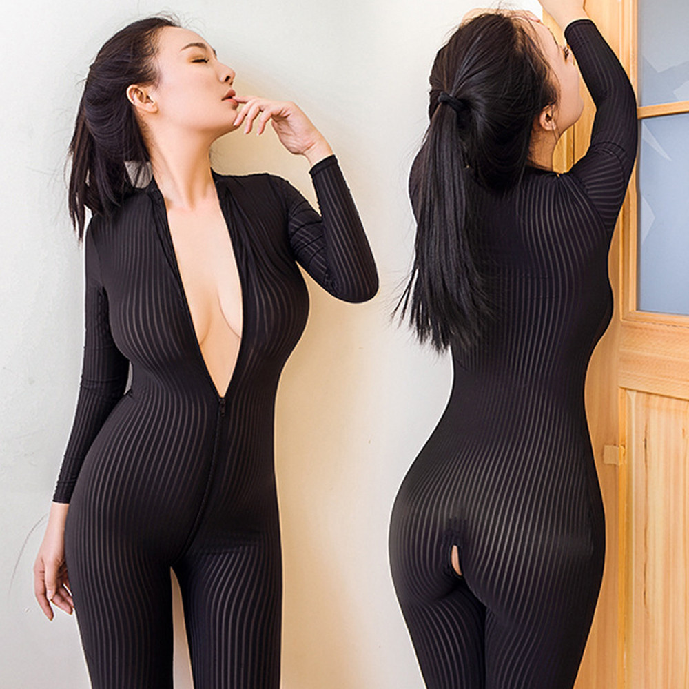 2020 Sexy Open Crotch Bodycon Long Sleeve Jumpsuits Fashion Mesh See-Through Black Romper title=