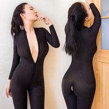 Macacão sensual crotch aberto de manga longa, macacão de malha transparente preto, skinny, com zíper duplo, 2020