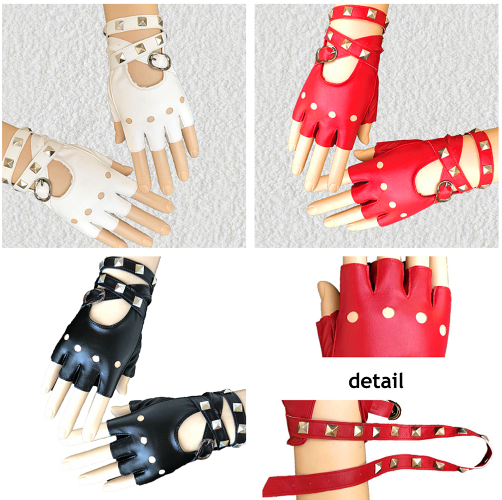 Gothic Punk Cool Lady Girl Sexy Disco Dance Rock-and-roll Fingerless Short PU Leather Gloves