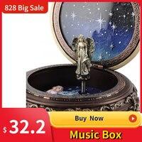 Caja de música giratoria del Zodíaco de bronce para niña, 12 Constelaciones, con luz LED, regalo de cumpleaños y Navidad, Castillo en el cielo