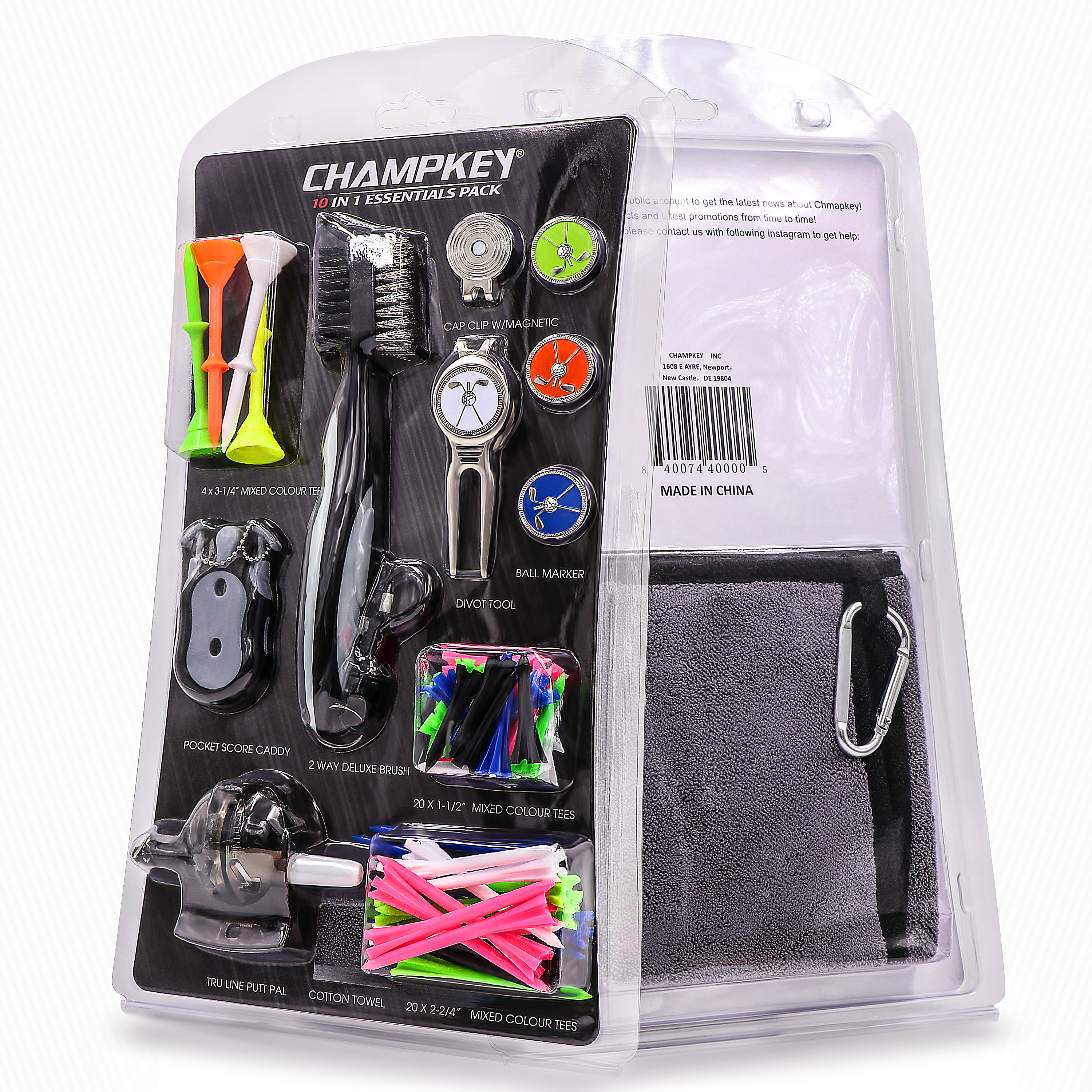 Champkey Luxury Golf Accessories Set Including Golf Brush,Golf Tees,Golf Score Caddy,Golf Divot Tool,Cap Clip,Ball Marker,etc.