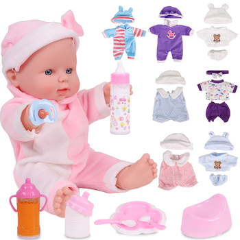 цена на 12 Inch Reborn Baby Dolls Full Body Silicone Fashion Clothes Soft Girl Dress Toddler Toys Kids For Girls Birthday Surprise Gift