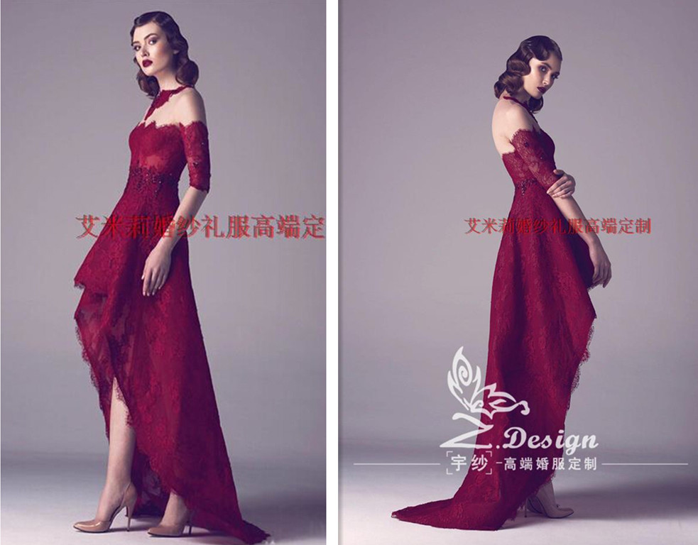 vestidos summer sexy half sleeves appliques lace Prom gown After short before long 2018 new style Custom Made   bridesmaid     dresses