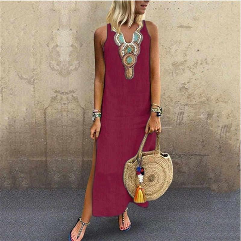 JODIMITTY Blusas Mujer De Moda 2020 Damen frauen Sommer Sommerkleid Ferien Casual Sleeveless Strand Party Midi Kleid Boho Kleid