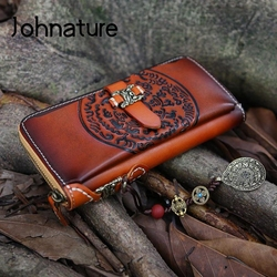 Женский кошелек из натуральной кожи Johnature, винтажный кошелек ручной работы, 2019
