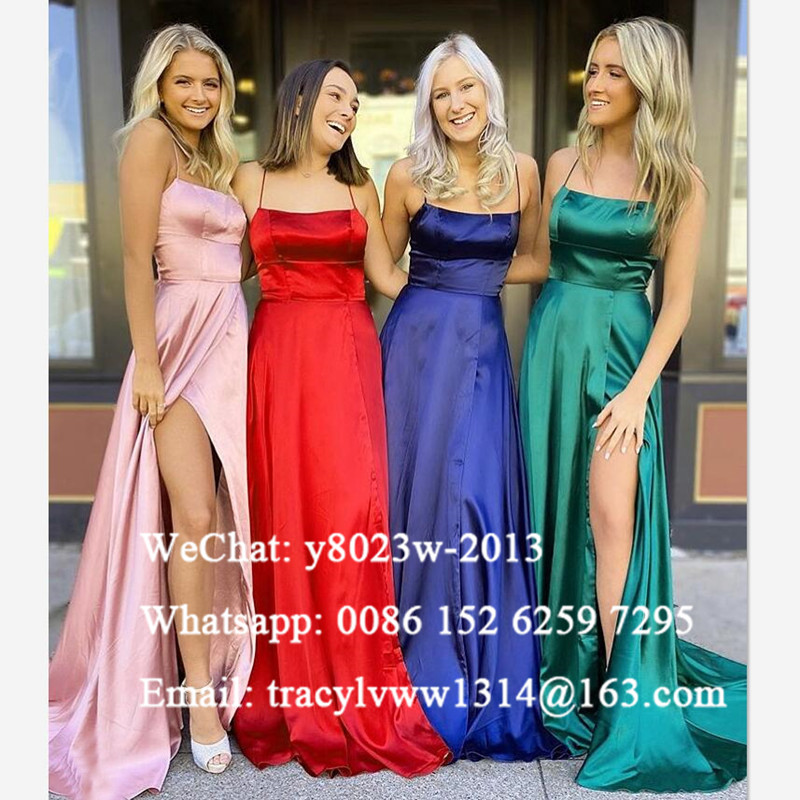 Sexy Side Split Long Bridesmaid Dresses 2020 Lace Up Back Spaghetti Strap A Line Wedding Guest Dress Party For Women