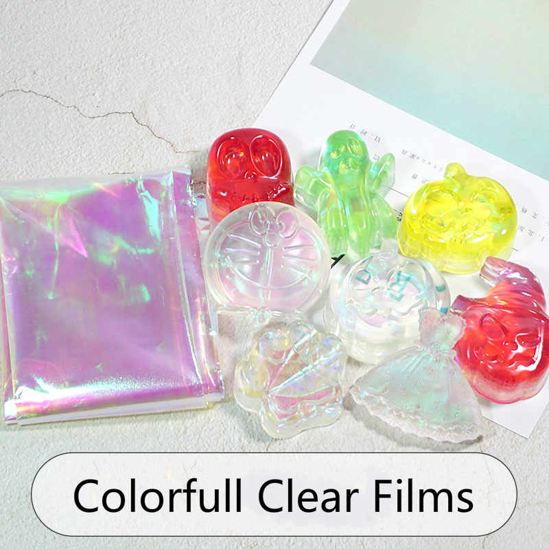Large Laser Iridescent Clear Film Thick Cellophane Transparent Rainbow Sheet Resin Inclusions Embellishments for Resin Art