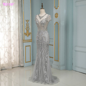 Image 3 - Luxury Silver Rhinestones Cap Sleeve Evening Dresses Long Mermaid Evening Gown Competition Formal Dress Robe De Soiree