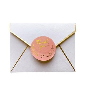 120pcs/lot Round Thank You Bronzing font Pink sealing sticker supporting my small business Students 35MM