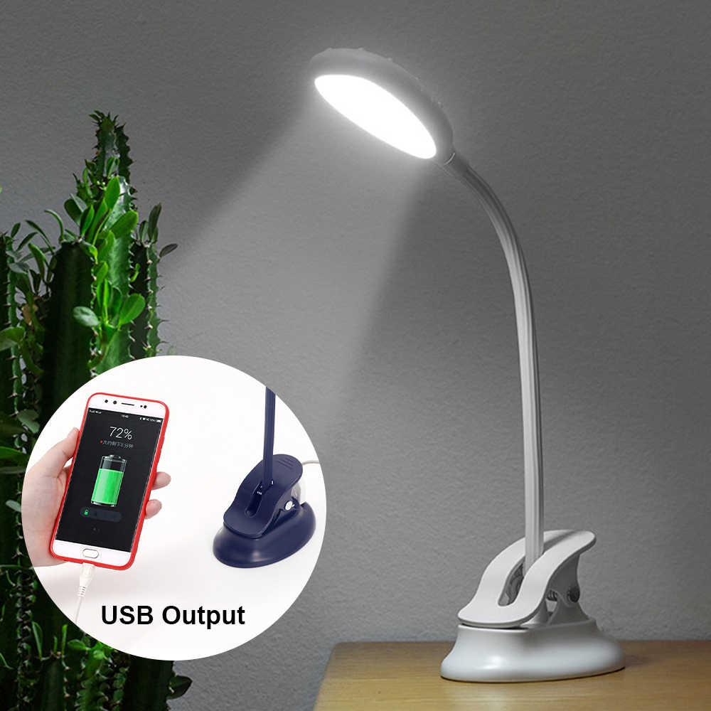 USB Выходная мощность, светодиодная настольная лампа с зажимом и подставкой, сенсорный диммер, светильник для учебы, Gooseneck, 18650, 1200 мА/ч, перезаряжаемый светильник, настольная лампа