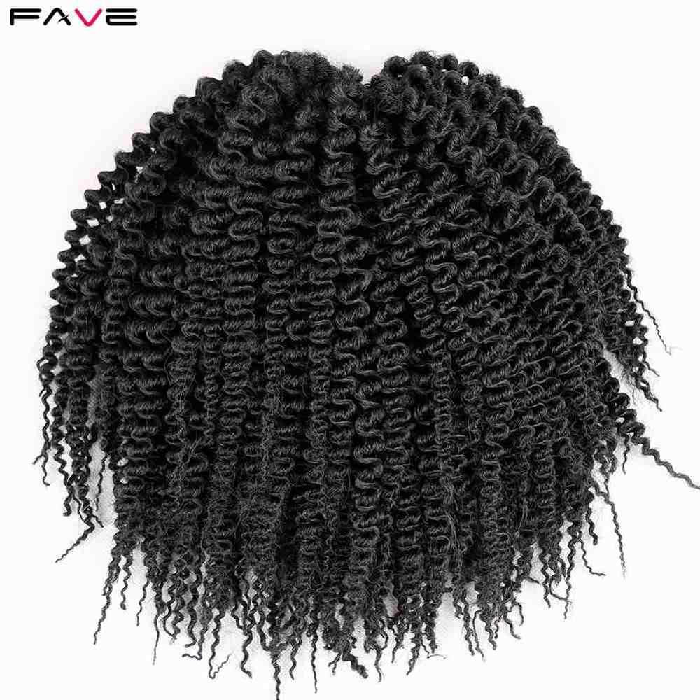 """FAVE 10 """"52 nici/szt. Pure Curly Senegalese plecione warkoczyki afro Freetress syntetyczne wiązki włosów dla czarnych białych kobiet/mężczyzn"""