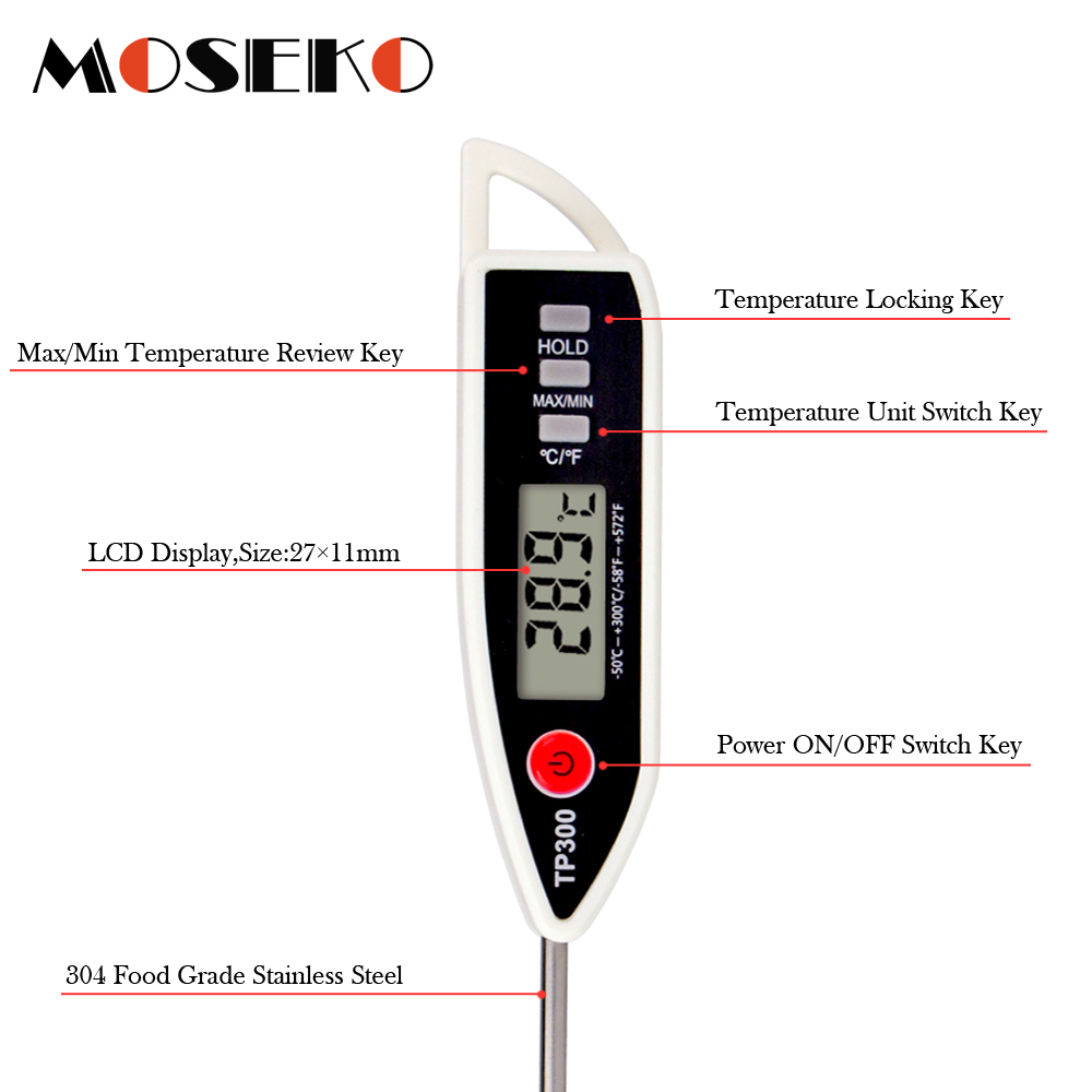 MOSEKO Newest Digital Food Thermometer for Cooked Food Barbecue and Milk with LCD Display and Temperature Control Key and Stainless Steel Probe 3
