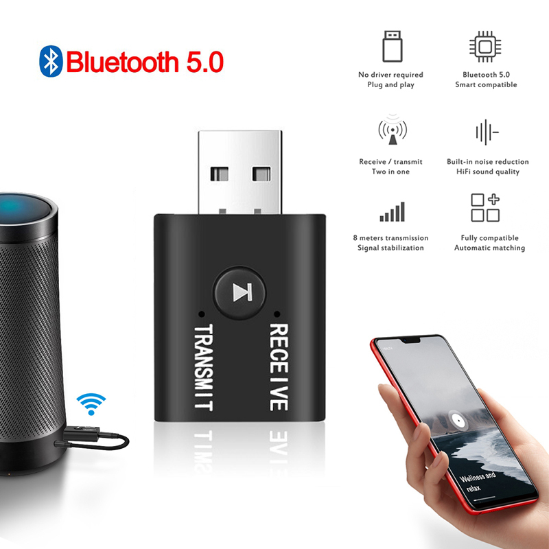 Bluetooth 5.0 Audio Receiver Transmitter Mini Stereo Bluetooth AUX RCA USB 3.5mm Socket For TV PC Car Kit Wireless Adapter