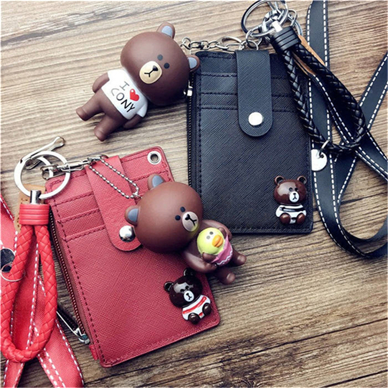 HNXZXB Large-capacity Card Package Ultra-thin Brown Bear Card Set Bus Subway Rice Card Cover Soft Zip Coin Pocket
