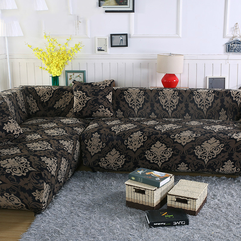 2 pieces Covers for Corner Sofa Chaise Longue Angled Sofa Sectional Slipcover Universal Stretch Elastic L Shaped Couch Covers