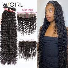Wigirl 28 30 32 34 40 Polegada tecer cabelo brasileiro 3 4 pacotes com 13x4 rendas frontal e fechamento remy onda profunda 100% cabelo humano