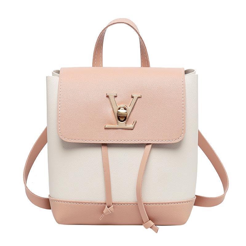 LISM Ladies Bag Fashion Contrast Color Lock Small Backpack Mini Slung Ladies Shoulder Bag Shoulder Bag Mobile Phone Bag