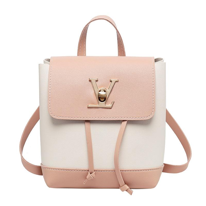 LISM Ladies Bag Fashion Contrast Color Lock Small Backpack Mini Slung Ladies Shoulder Bag Shoulder Bag Mobile Phone Bag